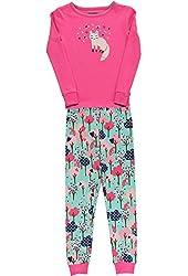 Hartstrings Little Girls Long Sleeved Pink Forest Print Pajama Set