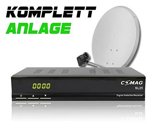 COMAG Digitale Single Satelliten-Anlage Komplett-Set SL25 (Inklusive: Digitaler Sat Receiver, Single LNB, 60er Stahlantenne, Masthalterung)