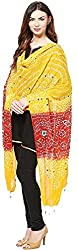 Femezone Women 's Dupatta (Yellow and Red, 240 cm)