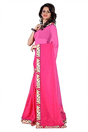 New Exclusive Embroidered Pink Georgette Saree available at Amazon for Rs.489