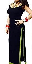 Trendy Black Colored Straight Suit with Mirror Work