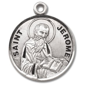 Sterling Silver Patron Saint Medal Round St. Jerome with 20