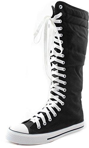 Women's Knee High Punk Sneaker Boots Punk-Hi Black, 9 (Knee High Shoes compare prices)