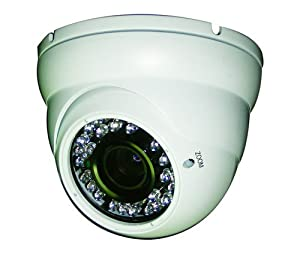 eSecure ES183270 Security Camera, 700TVL, 3.6mm Lens Wide viewing angle, 26 Led IR Outdoor Aluminum Surveillance Dome Camera (White)