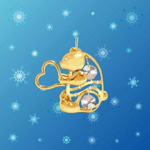 24K Gold Plated Hanging Sun Catcher Or Ornament..... Bear Holding Heart With Clear Swarovski Austrian Crystal front-452971