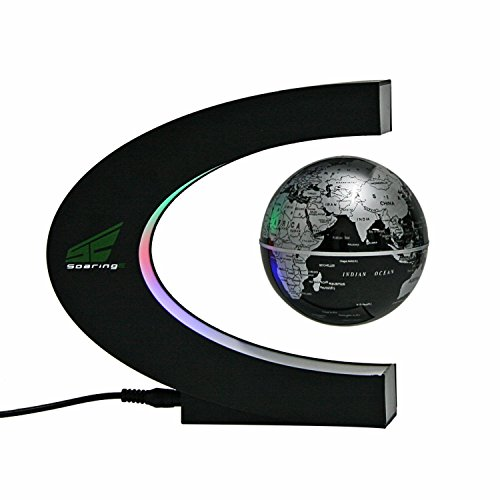 Babrit Spac Magnetic Levitation Floating World Map Globe with LED Lights for Learning Education Teaching Desk Decoration (C Shape + Globe)