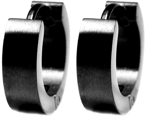 "0.30"" Inch (13MM) Smooth Black Huggie Hoop Earrings, Leverback Hinge Clasp, Semi-Matte Anodized Hypoallergenic 316L Stainless Steel"