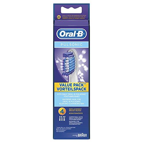 Oral-B Pulsonic Aufsteckbürsten (Ersatzbürstenköpfe für Schall- und Ultraschallzahnbürsten, powered by Braun) 4 Stück -