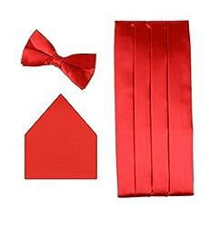Sorellaz Red 3 Pleat Cummerbund, Bowtie & Pocket Square