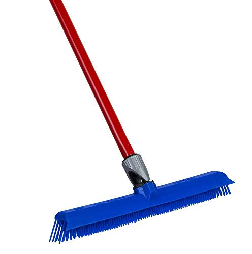 Silicone- Rubber Broom By Ravmag- Incredibly Tough & Durable Build- Adjustable Knuckle Joint- Integrated Squeegee- Comfortably Long Handle- Washable- Scratch Free Bristles- Perfect for Pet Hair! (Dog Sweeper compare prices)