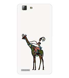 EPICCASE girl riding giraffe Mobile Back Case Cover For LENOVO A6600 (Designer Case)