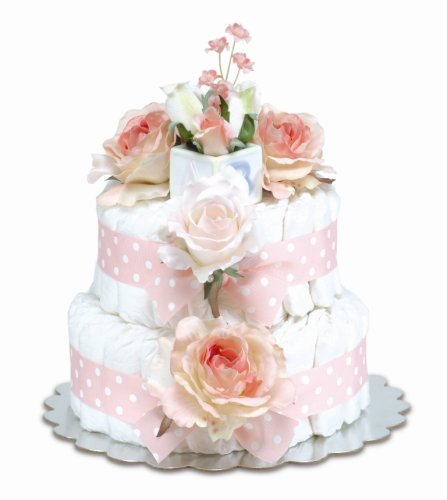 Bloomers Baby Diaper Cake Classic Pink Roses 2-Tier
