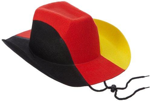 Idena 950783 - Cowboy Hut Deutschland Universalgröße, schwarz / rot / gelb