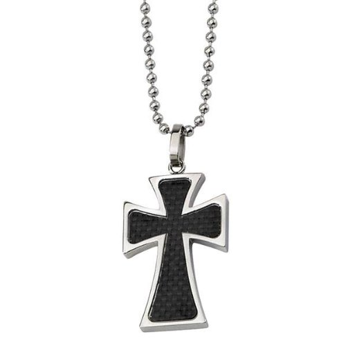Men's Stainless Steel and Black Carbon Fiber Cross
