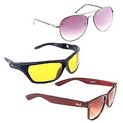 Elligator Stylish Aviator Spartiate Purple And Nightvision Yellow With Brown Wayfarer Sunglasses Combo ( Set of 3 )