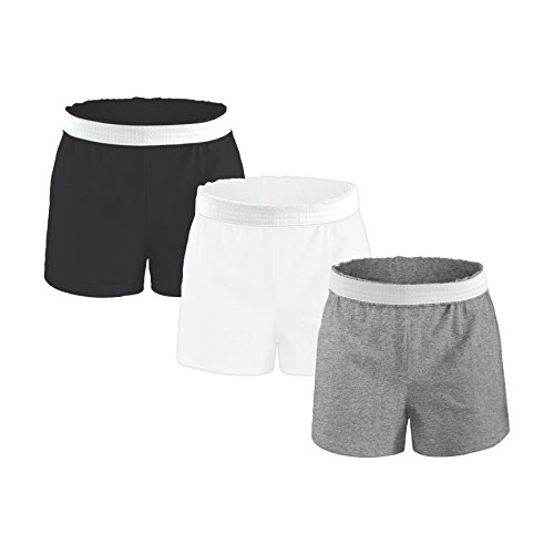Authentic Soffe Shorts for Girls,Youth Sizing - Black/White/Grey, Medium Soffe Cheer Shorts