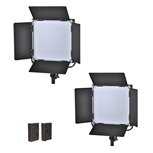 Iled 660As Led Bi-Color Studio Panel 2-Light Kit With V-Mount Plate And Barndoors + F-V Adapter