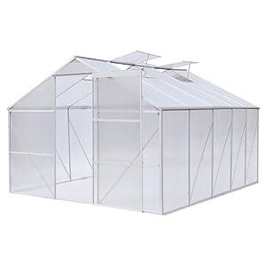 Gewächshaus Treibhaus Pflanzenhaus mit Schiebetür und 4 praktischen Belüftungsfenstern, ca. 8,37m², 310x270x190cm