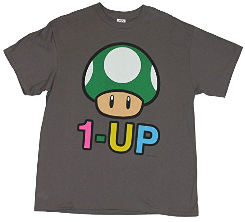 "Super Mario Brothers Mens T-Shirt - ""1up!"" Giant Green Mushroom Image"