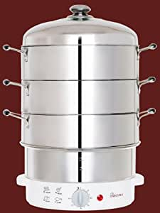 Secura 3-Tier 9-Quart Stainless Steel Electric Food Cooker Rice Steamer, w/ Steam360 technology S-326