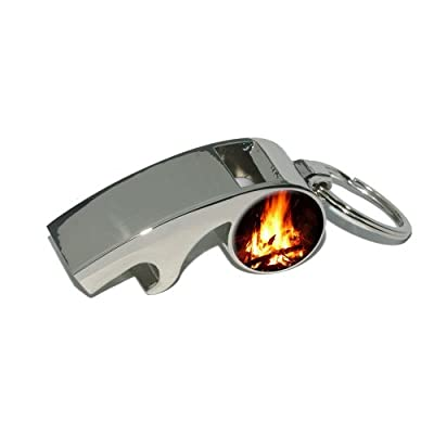 Campfire - Camp Camping Fire Pit Logs Flames - Plated Metal Whistle Bottle Opener Keychain Key Ring by Graphics and More