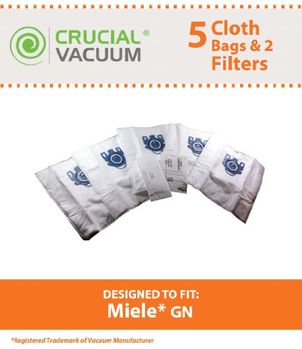 5 Miele GN Deluxe Allergen High Filtration Vacuum Bags + 2 Filters for Miele Vacuum Cleaners; Designed & Engineered by Crucial Vacuum