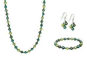 "Blue and Green Potato Freshwater Cultured Pearl and Green Agate Bead Necklace 16"", Stretch Bracelet 7"" Cluster Earrings Set"