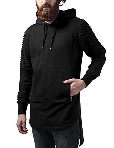 Urban Classics Pleat Sleeves Terry Hilo Hoody, Felpa Uomo, Nero (Black 7), X-Large