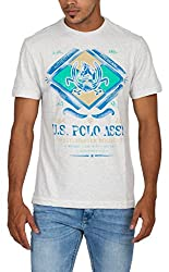 US Polo Assn. Men's Round Neck Poly Cotton T-Shirt (USTS1966_Off-White_S)