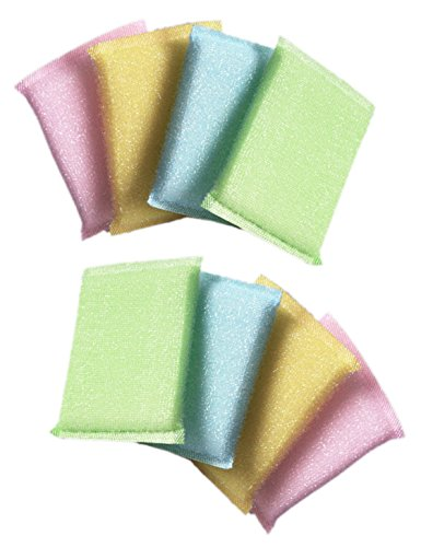8-Pack Long Lasting Scrubbing Dish Sponge Non Scratch No Smell Scouring Pads Pink Yellow Pastel Green Blue (Dishwashing Pad compare prices)