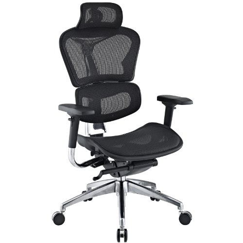 LexMod Lift Mesh Ergonomic Executive Chair with Headrest, Black
