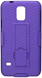 Eagle Cell Samsung Galaxy S5 Rubberized Case with Stand and Holster - Retail Packaging - Purple