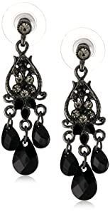 1928 Jewelry Noir Black Crystal Mini-Chandelier Earrings, 1.5