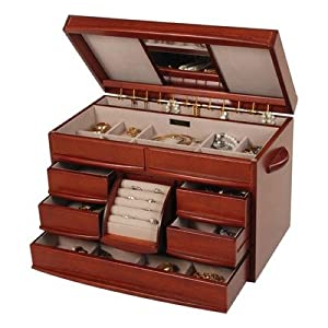 Mele Empress Walnut Wooden Jewelry Chest - 16.5W x 9.5H in.