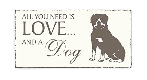 Targa « All You Need Is Love and a dog » Rottweiler cane Vintage legno scudo Targa per porta animale domestico