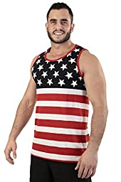 Men\'s USA Flag Tank Top America Stars & Stripes: LARGE
