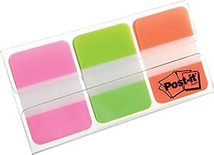 Post-it 686-PGO Haftstreifen Index Strong, 25,4 x 38 mm, Leuchtfarben, 3 x 22 Streifen - in weiteren Farben verfügbar