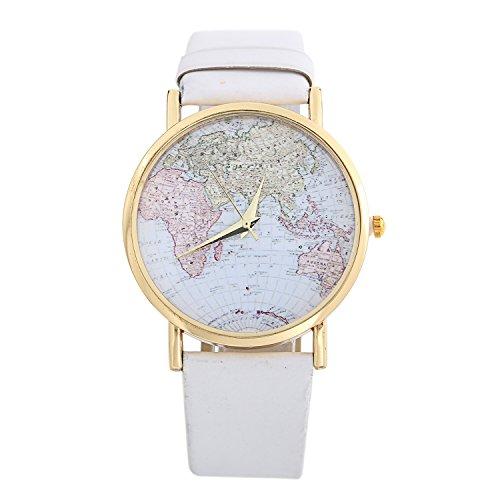 Dayan Fashion Unisex Men Women Lady Girls World Map Leather Alloy Analog Quartz Wrist Watches White