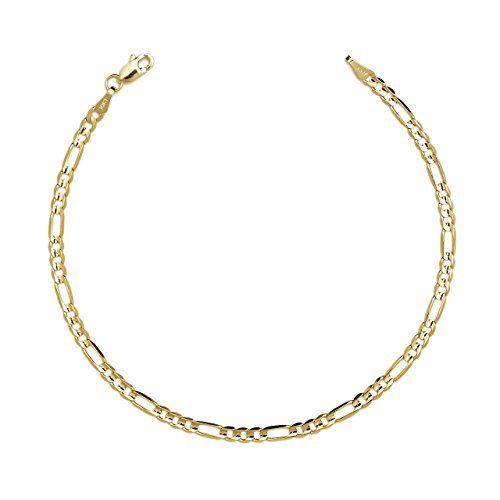 "10"" Figaro Chain Bracelet W/ Concave Look - 10K Yellow Gold - 0.19 Inch (4.7Mm)"