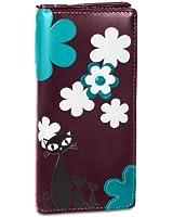 CASPAR Damen Geldbörse / Geldbeutel / Portemonnaie lang mit stylischem Katzen Motiv und vielen praktischen Fächern - viele Farben - GB290