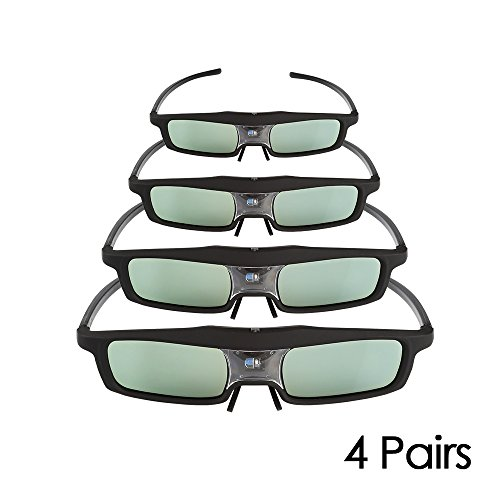 4 Pack of SainSonic CX-30 144Hz 3D Rechargeable IR Active Shutter Glasses for DLP-Link Projector & TV- BenQ, Optoma, Dell, Mitsubishi, Samsung, Acer, Vivitek, NEC, Sharp, ViewSonic etc
