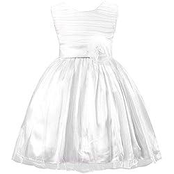 EOZY-Vestito Bambina Estivo di Cotone Misto Vestito Principessa Performing Bianco Petto di 57cm
