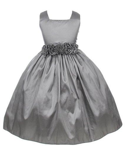 Sweet Kids Little Girls' Slvless Dress Rolled Flw Waistband 5 Silver (Sk 3047)