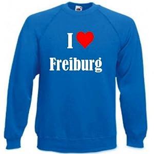 """Sweatshirt """"I Love Freiburg"""" für Damen Herren und Kinder ... in der Trendfarbe """"Royal Blau"""""""