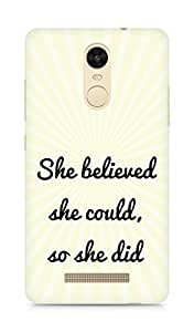 AMEZ she believed she could so she did Back Cover For Xiaomi Redmi Note 3
