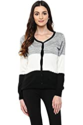 Annabelle by Pantaloons Women's V-Neck Cardigan (205000005619430, Black, X-Small)