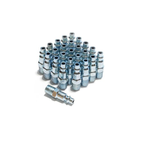 Primefit IP1414MS-B25-P 1/4-Inch Steel Male Industrial Plug Contractor Pack, 25-Piece