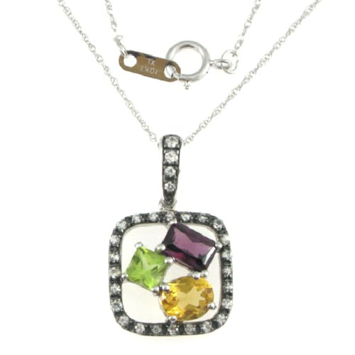 Sterling Silver Brazilian Garnet, Citrine, Peridot, White Sapphire Pendant Necklace