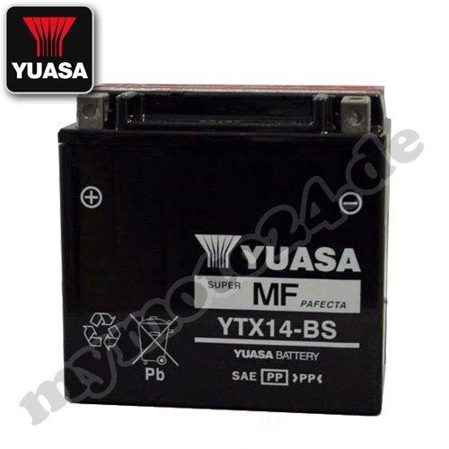 Batterie YUASA YTX14-BS, 12V/12AH (Maße: 150x87x145) für Honda ST1100 Pan European Baujahr 1992
