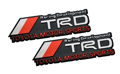 2 x (Pair / Set) TRD Toyota Motor Sports Racing Development Aluminum Emblem Badge Decal Nameplate Rare for Matrix Corolla Pontiac Vibe Scion TC XB XA XD Camry Sienna Solara Tacoma T100 Tundra 4Runner Aurion FJ Cruiser Landcruiser GX 470 Sequoia (Toyota Corolla Supercharger compare prices)